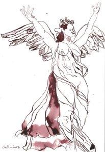 Tanzender Engel 22 x 17 cm Tusche auf Bütten (c) Zeichnung von Susanne Haun