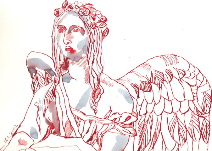 Taufengel Wolgast 24 x 32 cmcm Tusche auf Bütten (c) Zeichnung von Susanne Haun
