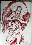 Engel in Florenz 22 x 17 cm Tusche auf Bütten (c) Zeichnung von Susanne Haun