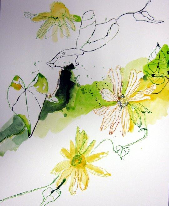 12 stand der dinge gelbe blumen c zeichnung von susanne haun susanne haun. Black Bedroom Furniture Sets. Home Design Ideas