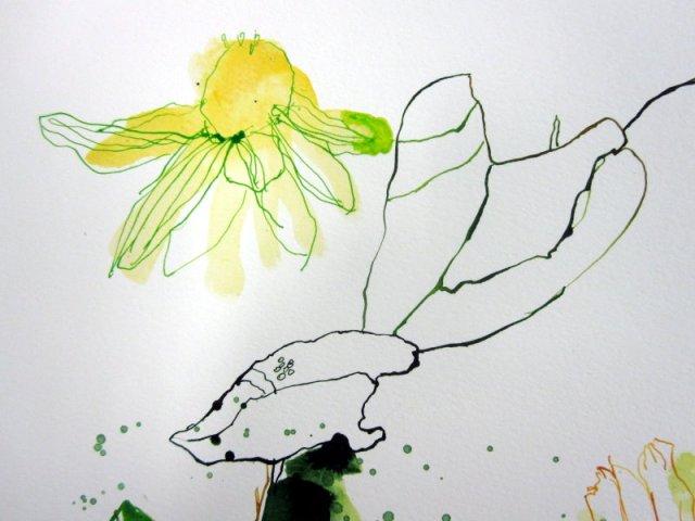 Detail Stand der Dinge - Gelbe Blumen (c) Zeichnung von Susanne Haun (2)