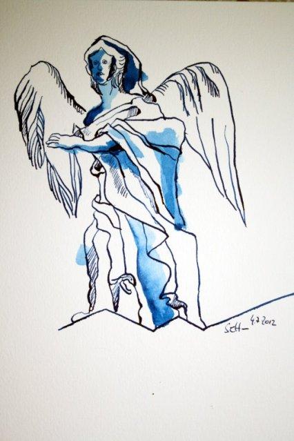 Engelsperspektiven 22 x 17 cm Tusche auf Bütten (c) Zeichnung von Susanne Haun (2)