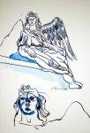 Engelsperspektiven 22 x 17 cm Tusche auf Bütten (c) Zeichnung von Susanne Haun (4)