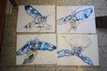 Vier Insekten jeweils 30 x 40 cm Tusche auf Hahnemühle Bütten (c) Zeichnung von Susanne Haun