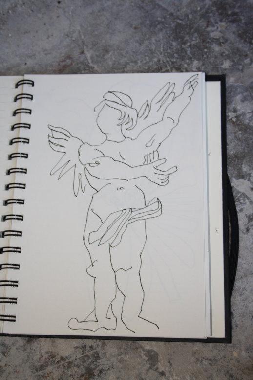 Skulptur im Palast Archiginnasio (c) Zeichnung von Susanne Haun