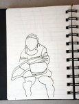Touristin in Sant'Appollinare Nuovo (c) Skizze von Susanne Haun
