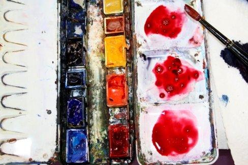 Wer nicht alle Farben dabei hat, kann Aquarell benutzen (c) Foto von Susanne Haun