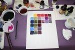 Ich fertige zur Vervollständigung eine Lila Farbkarte an (c) Foto von Susanne Haun