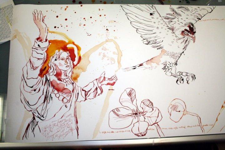 Für mich besitzt das Paradies Blumen (c) Zeichnung von Susanne Haun