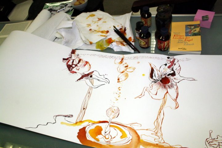 Aus Samenfrüchten rieselt Wasser (c) Zeichnung von Susanne Haun