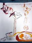 Detail 1 Samenfrüchten rieselt Wasser (c) Zeichnung von Susanne Haun