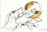Der Junge mit der Münze 17 x 22 cm Tusche auf Bütten (c) Zeichnnung von Susanne Haun
