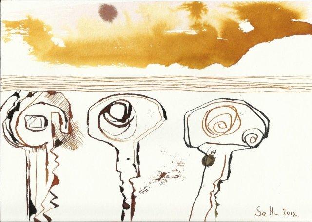 Die Auflösung der Schlüssel 17 x 22 cm Tusche auf Bütten (c) Zeichnung von Susanne Haun