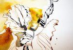 Entstehung Hibiskus 20 x 50 cm Tusche auf Bütten (c) Zeichnung von Susanne Haun