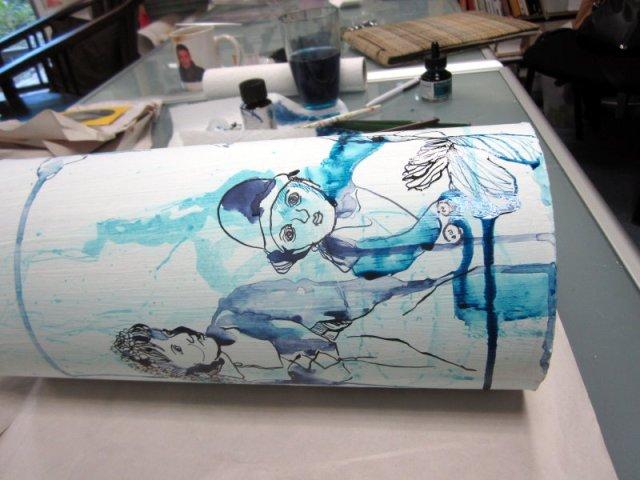 Nun lasse ich die Teilzeichnung trocknen (c) Zeichnung von Susanne Haun