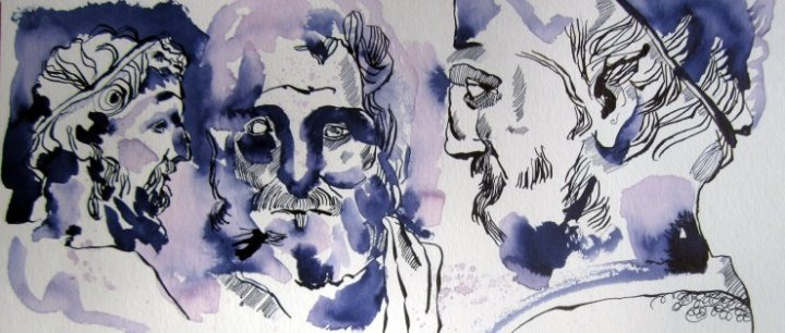 Meine Vorstellung von Aischylos 20 x 50 cm Tusche auf Bütten (c) Zeichnung von Susanne Haun