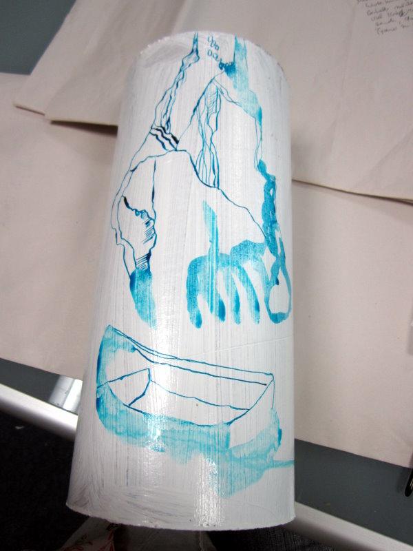 Die Tusche hält nicht auf der von mir gewählten Grundierung (c) Foto von Susanne Haun