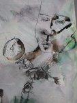 Am zweiten Tag lege ich ohne Plan vom Inneren geleitet los (c) Zeichnung auf Leinwand von Susanne Haun
