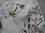Mit grüner tusche setze ich einen Schmetterling dazu (c) Leinwand von Susanne Haun