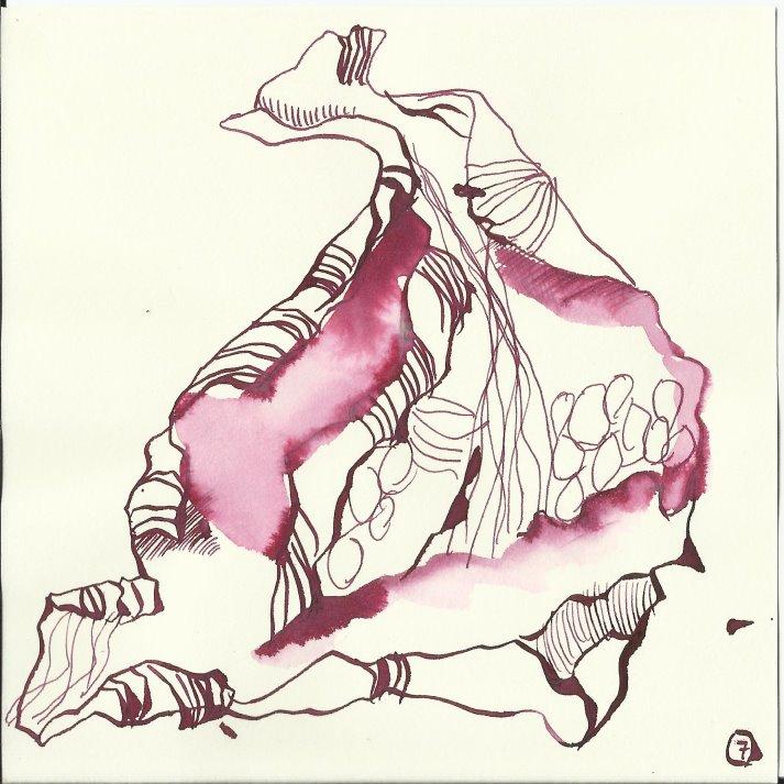 Blumenblatt 15 x 15 cm Zeichnungen von (c) Susanne Haun