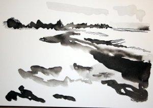 Die Kraft der Ostsee 17 x 22 cm Tusche auf Bütten (c) Zeichnung von Susanne Haun