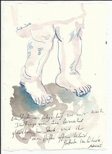 Blatt 11 Die Ringe um ihre Knöchel glänzten im Staub (c) Zeichnung von Susanne Haun