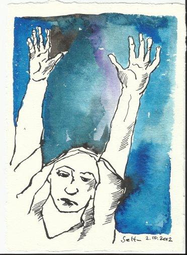 Blatt 6 Mit weit geöffneten Armen fühlte ich (c) Zeichnung von Susanne Haun