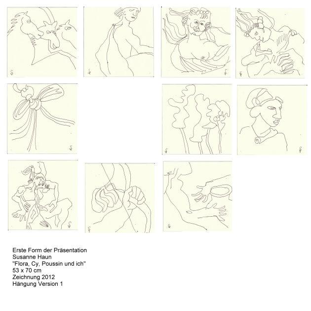 Flora, Cy, Possin und ich Version 1 (c) Zeichnung von Susanne Haun