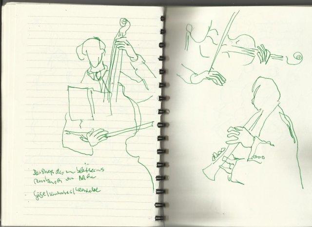 Beethovens Musik Musiker Septett Es-Dur op.20 (c) Zeichnung von Susanne Haun