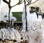 Blatt 5 Im Strandbad 25 x 25 cm (c) Collage von Susanne Haun