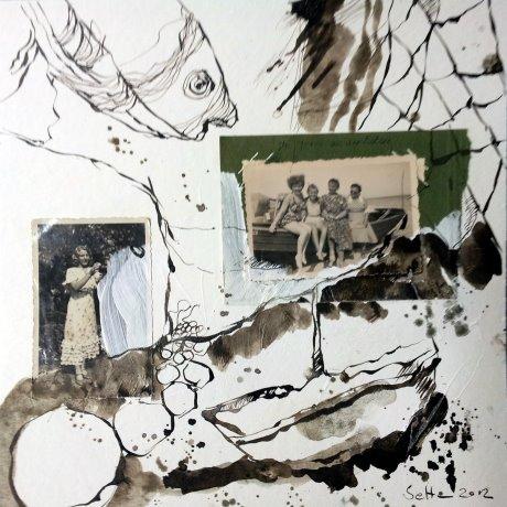 Blatt 8 Am Meer 25 x 25 cm (c) Collage von Susanne Haun