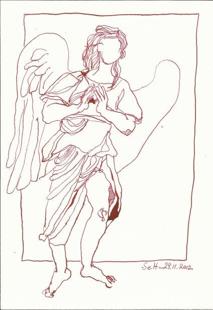 Engel nach dem Dom in Florenz (c) Zeichnung von Susanne Haun