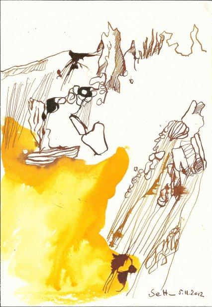 Landschaft 17 x 22 cm Tusche auf Bütten (c) Zeichnung von Susanne Haun