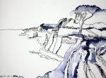 Mein Traum von Küstenlandschaft 30 x 40 cm Tusche auf Bütten (c) Zeichnung von Susanne Haun klein