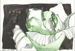 Rose grün 17 x 22 cm Tusche auf Bütten (c) Zeichnung von Susanne Haun