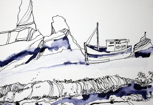 Traumküste 34 x 22 cm Tusche auf Bütten (c) Zeichnung von Susanne Haun