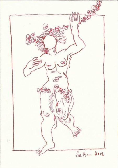 Tanz der venezianischen Engel 18 x 13 cm Tusche auf Bütten (c) Zeichnung von Susanne Haun