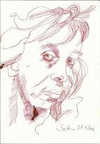 Selbstportrait am späten Abend (c) Zeichnung von Susanne Haun