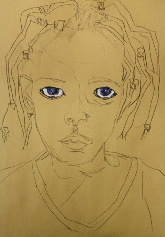 Entstehung Portrait Shorog (c) Zeichnung von Susanne Haun