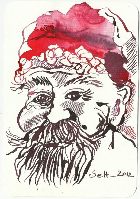 4 Der Weihnachtsmann 15 x 10 cm Tusche auf Hahnemühle (c) Zeichnung von Susanne Haun