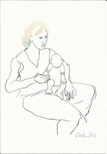 Mutter mit Kind 22 x 17 cm (c) Zeichnung von Susanne Haun