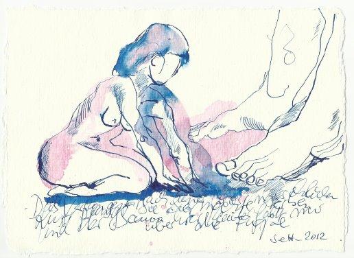 Blatt 60 ...und knien nieder ... (c) Zeichnung von Susanne Haun