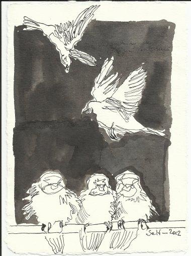 Blatt 66 Buch mit den schwarzgeschriebenen Seiten (c) Zeichnung von Susanne Haun