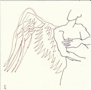 Clarence bekommt Flügel 9teilig (c) Zeichnung von Susanne Haun 9