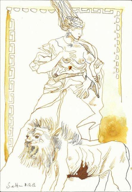 Der Löwe und das Glück (c) Zeichnung von Susanne Haun