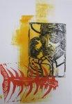 Der Mann und der Marlin (c) Linolschnitt von Susanne Haun