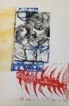 Der Mann und der Marlin Version 2 (c) Linolschnitt von Susanne Haun