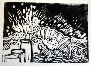Wasser Schwarz - Blatt 4 (c) Linolschnitt von Susanne Haun