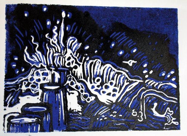 Wasser blau - schwarz - Blatt 6 (c) Linolschnitt von Susanne Haun
