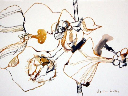 6 Windblume Version 2 24 x 32 cm (c) Zeichnung von Susanne Haun